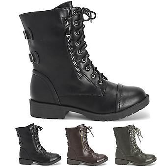 Womens Outside Pocket Zip Combat Military Fashion Winter Mid Calf Boots UK 3-10