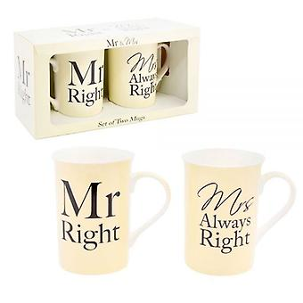 Mr Right & fru alltid sett rett med 2 te kaffe krus gaveeske
