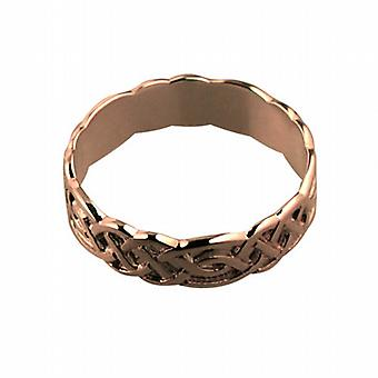 9 قيراط الذهب ارتفع 6 مم سلتيك خاتم الزواج حجم Z