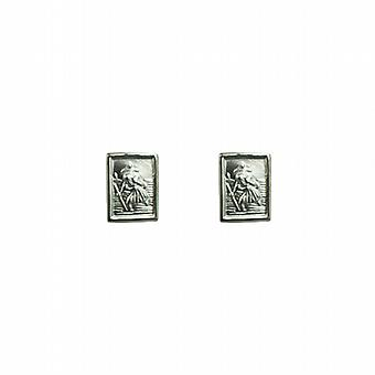 Silver 8x6mm rectangular St Christopher Stud Earrings