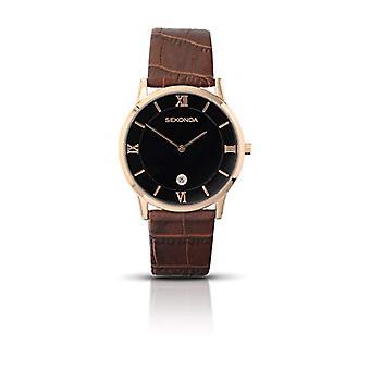 Sekonda men's wrist watch Unisex-Adult, leather, black