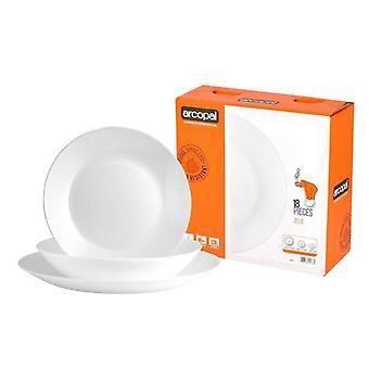 Arcopal 18pcs Zelie alb cina set cina supa laterală plăci