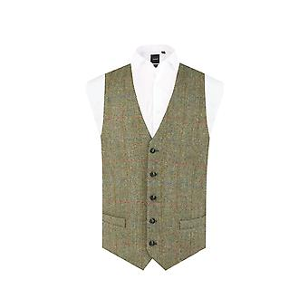 Scottish Harris Tweed Mens Green Herringbone Tweed Waistcoat Regular Fit