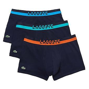 Lacoste Colours Cotton Stretch 3-Pack Boxer Trunk, Navy, X-Large