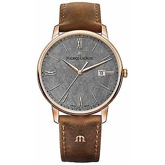 Maurice Lacroix Eliros Date Textured Dial Brown Leather Strap EL1118-PVP01-210-1 Watch