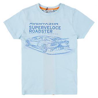 Lamborghini Kids Automobili Lamborghini Aventador SV Roadster T-Shirt,Sky