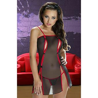 Avanua Lingerie Rina Black & Red Sheer Chemise with Peep Hole & Thong