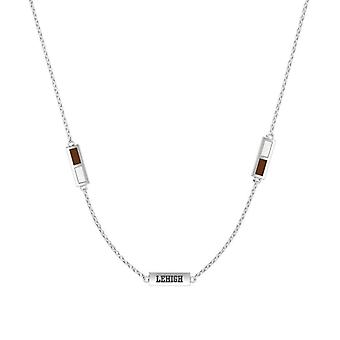 Lehigh University Sterling Silver Engraved Triple Station Necklace In Brown and White