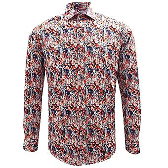 Guide London Multicolour Flower Print Pure Cotton Long Sleeve Mens Shirt