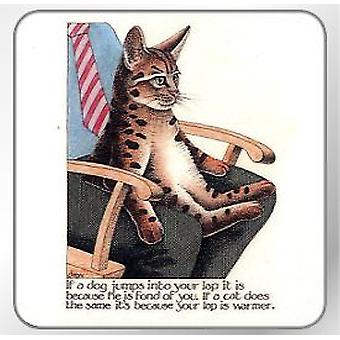 Custom Works - Simon Drew Single Coaster - Lap Cat