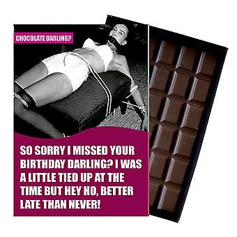 Śmieszne spóźniony prezent urodzinowy dla mężczyzn lub kobiet w pudełku czekolada powitanie karty prezent CDL126