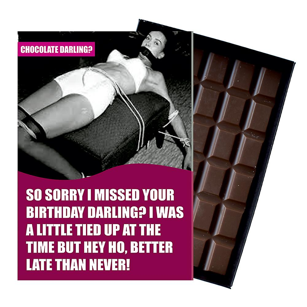 Funny Belated Birthday Gift for Men Or Women Boxed Chocolate Greeting Card Present CDL126