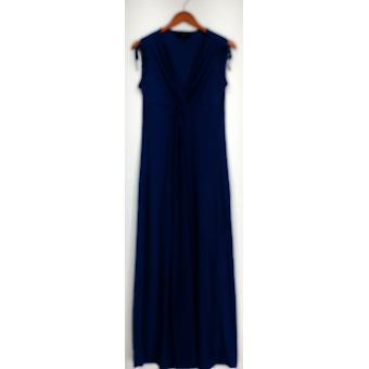 Nancy O'Dell Dress Ttv Knotted Front V-Neck Maxi Blue Womens A425802