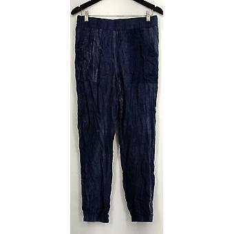 Holly Robinson Peete Pantaloni Tessuto Elastica Vita Jogger Stile Blu A432829
