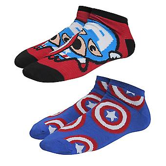Captain America Kawaii Women's Low-Cut Sock 2 Pack