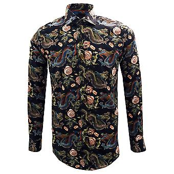 Guide London Dragons And Flowers Print Pure Cotton Long Sleeve Mens Shirt