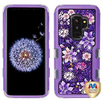 MYBAT Purple/Purple Stargazers & Purple Sparkles Liquid Flowing TUFF Quicksand Glitter Hybrid Case for Galaxy S9 Plus