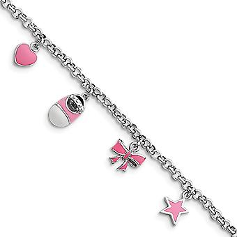 925 Sterling Silver Polished Pink Enameled Baby Charm Bracelet 5.5 Inch Lobster Claw - 5.7 Grams