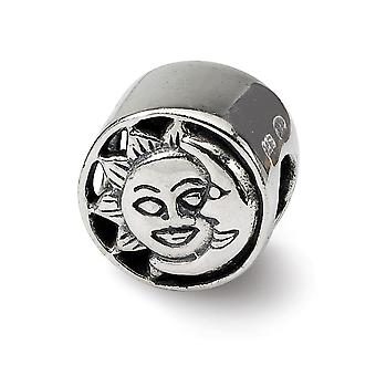 925 Sterling Silver Antique finish Reflections Sun Moon Bead Charm