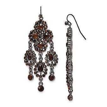 Gancho de pastor negro negro marrón lámpara de araña pendientes mide 77x25mm regalos de joyería ancho para las mujeres