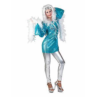 Disco Queen Tunic Costume Femme Robe Glitter Shirt Costume Dames