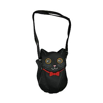 Chat noir dans l'arc rouge Pretty Kitty Crossbody Purse Small