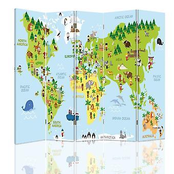 Divisor de habitaciones, 5 paneles, lienzo, mapa del mundo para niños