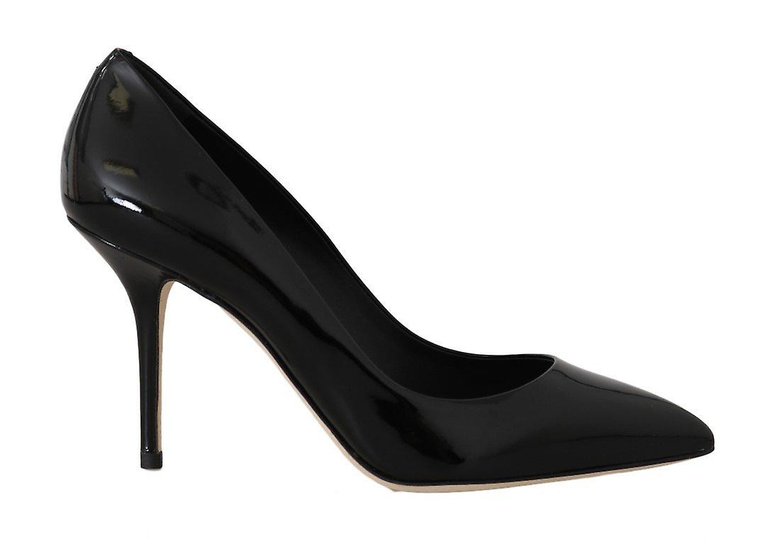 Black Leather Stiletto Heels Pumps