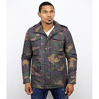 Winter coats-Mens winter coat short-Camouflage jacket-Green