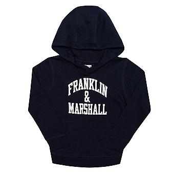 Infant Boys Franklin And Marshall F And M Hoody In Navy- Ribbed Cuffs And Hem-