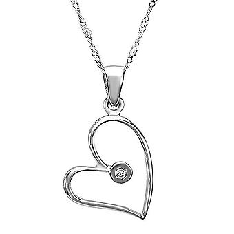 Dazzlingrock Collection 0.01 Carat (ctw) 14K Round Diamond Bezel Set Ladies Heart Shape Pendant, White Gold