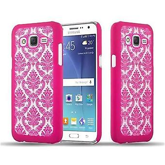 Samsung Galaxy J7 2015 Custodia rigida in PINK di Cadorabo - Flowers Paisley Henna Design Protective Case – Phone Case Bumper Back Case Cover