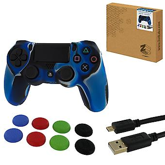 Protect & play kit for ps4 inc silicone cover, thumb grips & 3m charging cable - camo blue