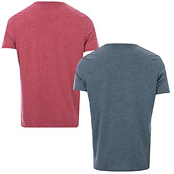 Mens Farah Oakmont 2 Pack T-Shirts In Teal And Red- Set Of 2 Lounge Wear