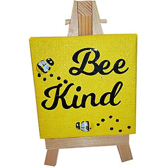 Bee Kind Canvas & Stand Yellow by Wee Bee Gifts