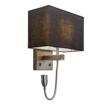 QAZQA Wall lamp steel with black shade and reading arm incl. LED - Bergamo