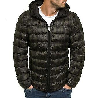 Allthemen Men's Short Style Zipper Hooded Camouflage Padded Jacket
