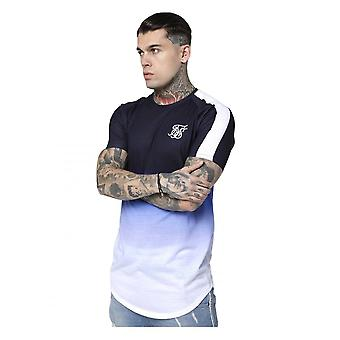 Sik Silk S/s Curved Hem Fade Tee Navy/blue/white