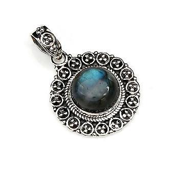 Amuleto de caneta de corrente prata 925 Pedra labradorita de prata esterlina (Não: MAH 104-05)