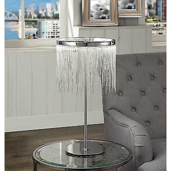 Contemporary Metal Table Lamp with Adjustable LED Light and Beaded Drum Shade, Silver