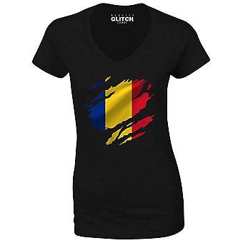 Realiteit glitch verscheurd Roemenië vlag Womens t-shirt-v-hals