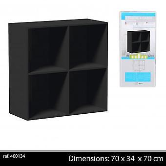 Dřevěná police jednotka 4x kostky černá 70x34x70cm