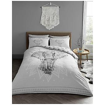 Ebony olifant Mandala patroon moderne Dekbedovertrek Quilt Cover Reversible beddengoed Set