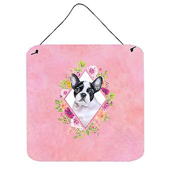 French Bulldog Pink Flowers Wall or Door Hanging Prints