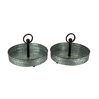Rustic Galvanized Metal Round Serving Trays with Handle Set of 2