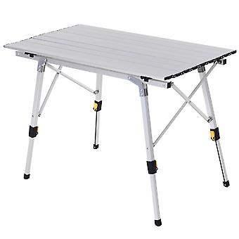 Outsunny 3FT Folding Aluminium Picnic Table Portable Camping BBQ Table Roll Up Top  with Carrying Bag