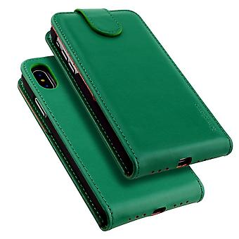 For iPhone XS,X Case,iCoverLover Style Vertical Flip Genuine Leather Cover,Green