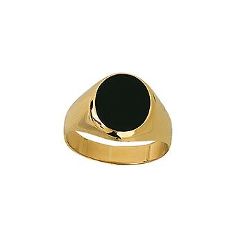 14k Yellow Gold Signet Oval Simulated Onyx and High Polished Ring Jewelry Gifts for Women - Ring Size: 6 to 9