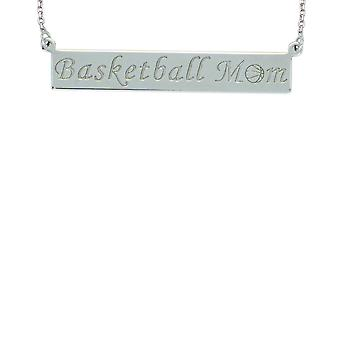 925 Sterling Silver Rhodium Plated Basketball Mom Bar Necklace 18 Inch Jewelry Gifts for Women