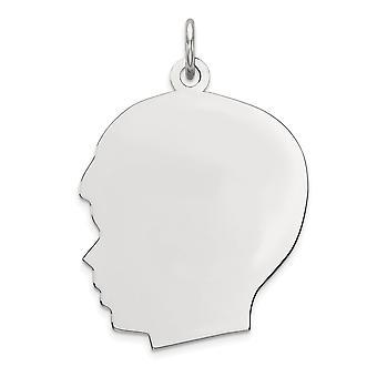 21mm 925 Sterling Silber gravierbare Rhod Platte eng. junge poliert front Satin zurück Scheibe Anhänger Anhänger Halskette Schmuck Gi